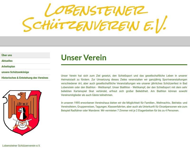 Neues Angebot im Lobensteiner Schützenverein e.V. (Screenshot: sv-lbs.de)